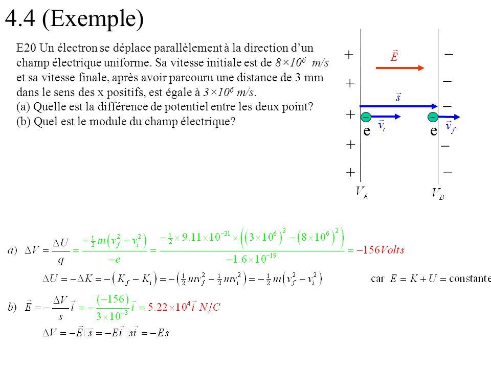 4.4 (Exemple) + + + + + _ _ _ _ _ e e E20 Un électron se déplace parallèlement à la direction d'un champ électrique uniforme. Sa vitesse initiale est