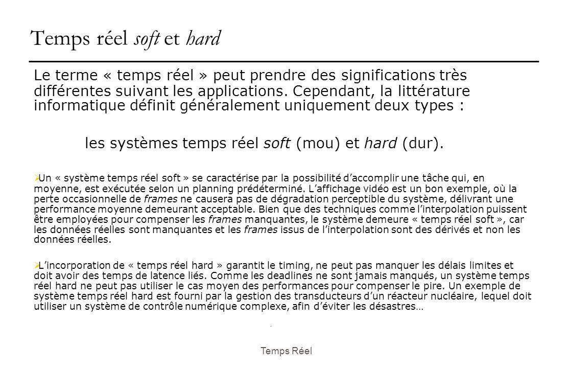 Temps Réel Temps réel soft et hard Le terme « temps réel » peut prendre des significations très différentes suivant les applications.