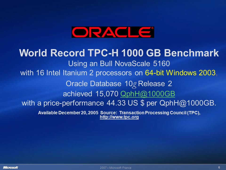 2007 – Microsoft France 6 Available December 20, 2005 Source: Transaction Processing Council (TPC), http://www.tpc.org World Record TPC-H 1000 GB Benc
