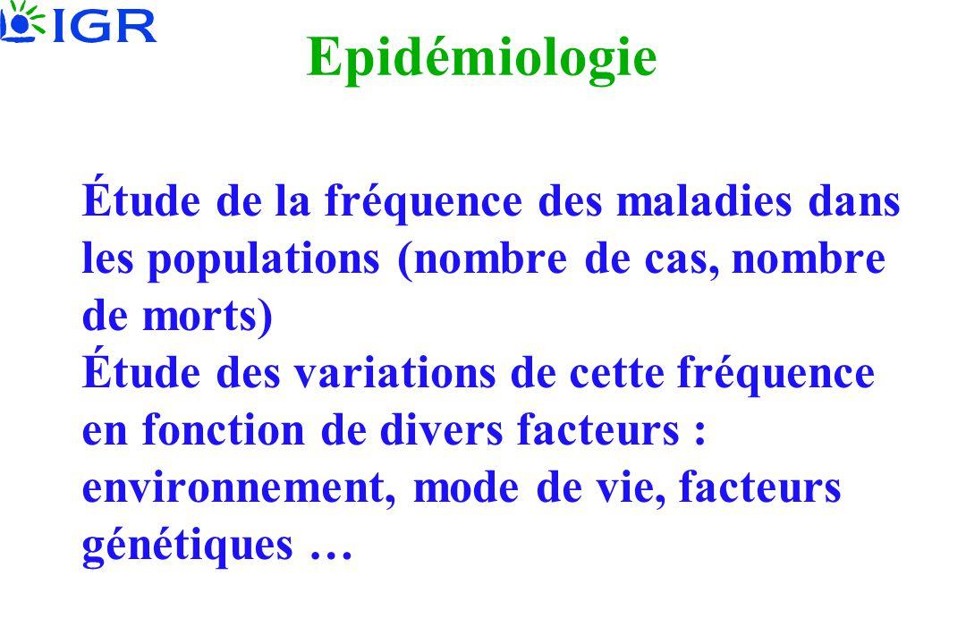 Epidémiologie Étude de la fréquence des maladies dans les populations (nombre de cas, nombre de morts) Étude des variations de cette fréquence en fonc