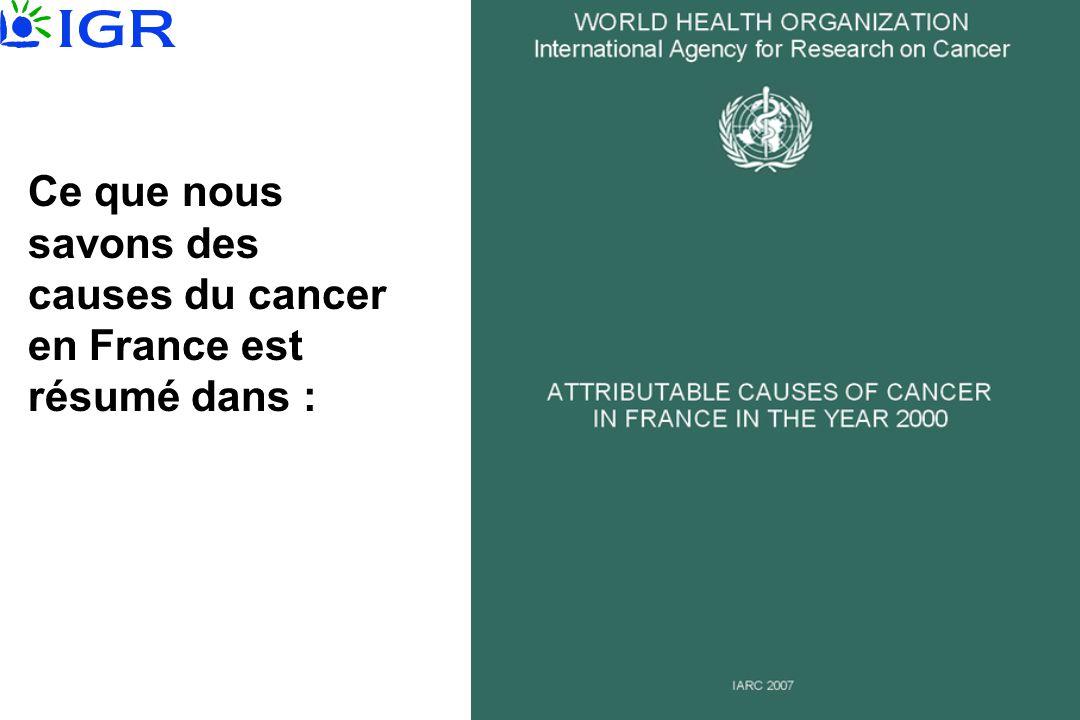Ce que nous savons des causes du cancer en France est résumé dans :