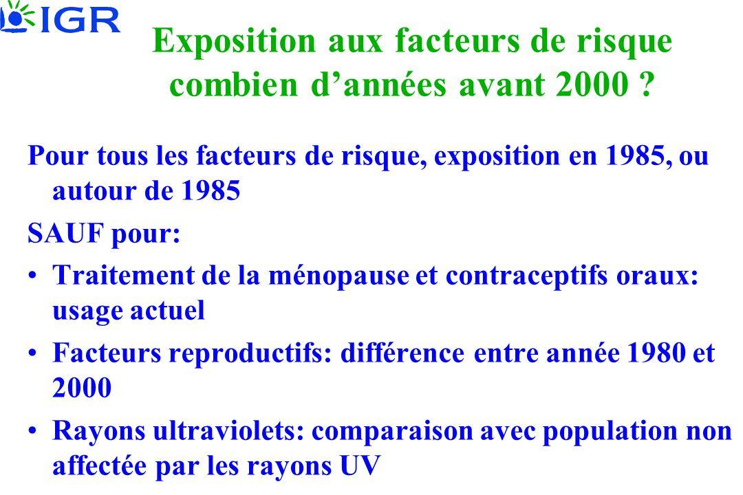 Exposition aux facteurs de risque combien d'années avant 2000 ? Pour tous les facteurs de risque, exposition en 1985, ou autour de 1985 SAUF pour: •Tr
