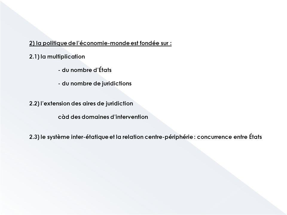 2) la politique de l'économie-monde est fondée sur : 2.1) la multiplication - du nombre d'États - du nombre de juridictions 2.2) l'extension des aires de juridiction càd des domaines d'intervention 2.3) le système inter-étatique et la relation centre-périphérie : concurrence entre États