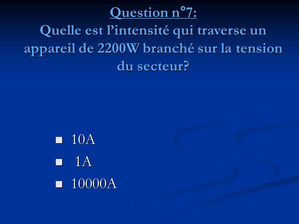Question n°7: Quelle est l'intensité qui traverse un appareil de 2200W branché sur la tension du secteur?  10A  1A  10000A