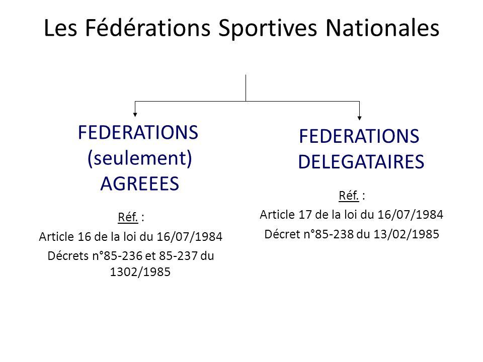 Les Fédérations Sportives Nationales FEDERATIONS (seulement) AGREEES Réf. : Article 16 de la loi du 16/07/1984 Décrets n°85-236 et 85-237 du 1302/1985