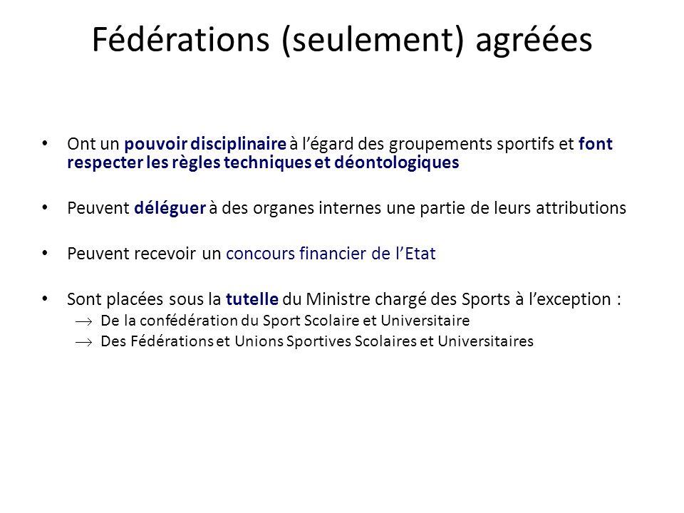 Fédérations (seulement) agréées • Ont un pouvoir disciplinaire à l'égard des groupements sportifs et font respecter les règles techniques et déontolog