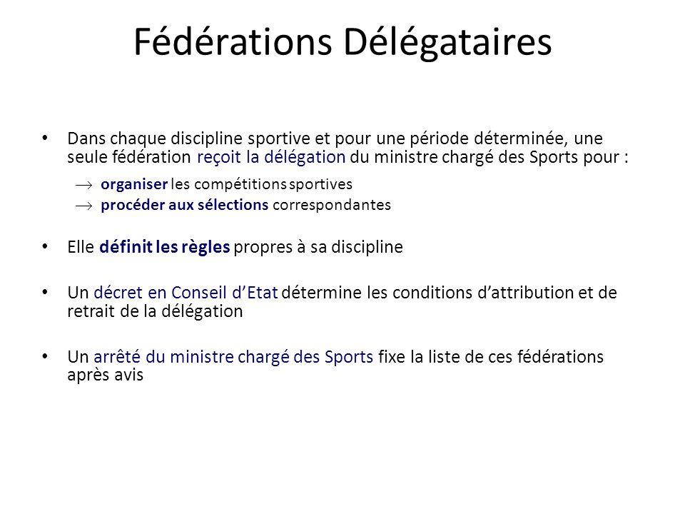Fédérations Délégataires • Dans chaque discipline sportive et pour une période déterminée, une seule fédération reçoit la délégation du ministre charg