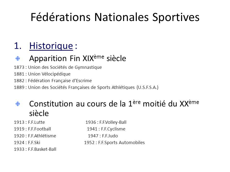 Fédérations Nationales Sportives 1.Historique : Apparition Fin XIX ème siècle 1873 : Union des Sociétés de Gymnastique 1881 : Union Vélocipédique 1882 : Fédération Française d'Escrime 1889 : Union des Sociétés Françaises de Sports Athlétiques (U.S.F.S.A.) Constitution au cours de la 1 ère moitié du XX ème siècle 1913 : F.F.Lutte 1936 : F.F.Volley-Ball 1919 : F.F.Football 1941 : F.F.Cyclisme 1920 : F.F.Athlétisme 1947 : F.F.Judo 1924 : F.F.Ski 1952 : F.F.Sports Automobiles 1933 : F.F.Basket-Ball