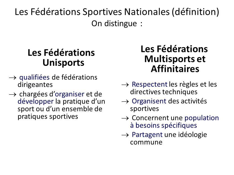 Les Fédérations Sportives Nationales (définition) On distingue : Les Fédérations Unisports  qualifiées de fédérations dirigeantes  chargées d'organi