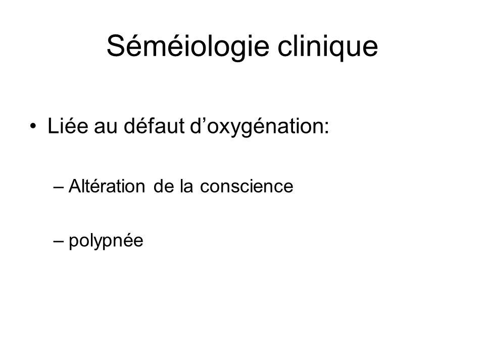 Séméiologie clinique •Liée au défaut d'oxygénation: –Altération de la conscience –polypnée