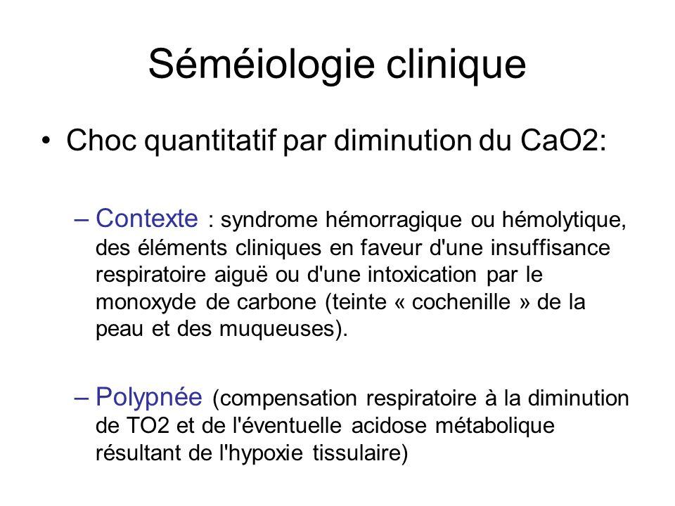 Séméiologie clinique •Choc quantitatif par diminution du CaO2: –Contexte : syndrome hémorragique ou hémolytique, des éléments cliniques en faveur d'un