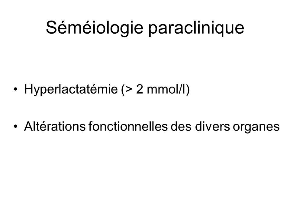 Séméiologie paraclinique •Hyperlactatémie (> 2 mmol/l) •Altérations fonctionnelles des divers organes