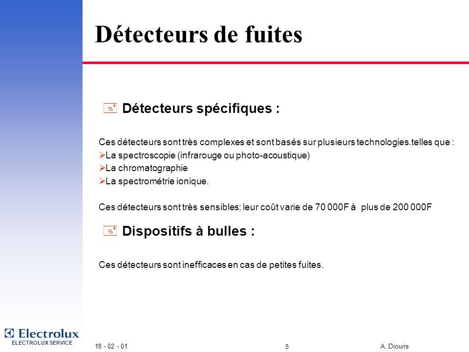 ELECTROLUX SERVICE 18 - 02 - 01 A. Diouris 4 Détecteurs de fuites Différents types de détecteurs  Détecteurs non sélectif : Ce sont les moins chers d