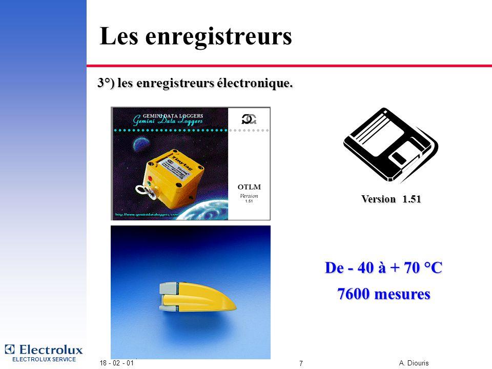 ELECTROLUX SERVICE 18 - 02 - 01 A. Diouris 6 Les enregistreurs • Contrôle des températures : 1°) le thermomètre à alcool 2°) les enregistreurs à bande