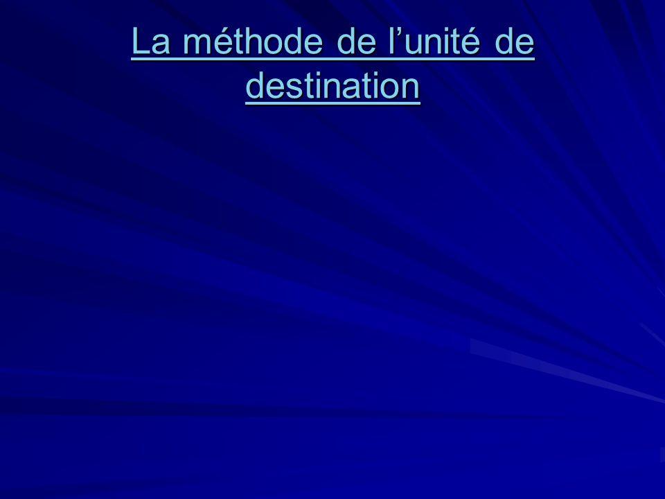 La méthode de l'unité de destination La méthode de l'unité de destination