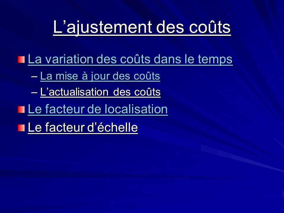 L'ajustement des coûts La variation des coûts dans le temps La variation des coûts dans le temps –La mise à jour des coûts La mise à jour des coûtsLa