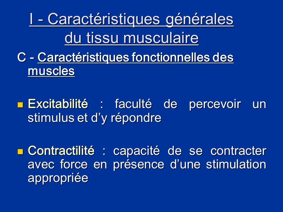 I - Caractéristiques générales du tissu musculaire C - Caractéristiques fonctionnelles des muscles  Excitabilité : faculté de percevoir un stimulus e