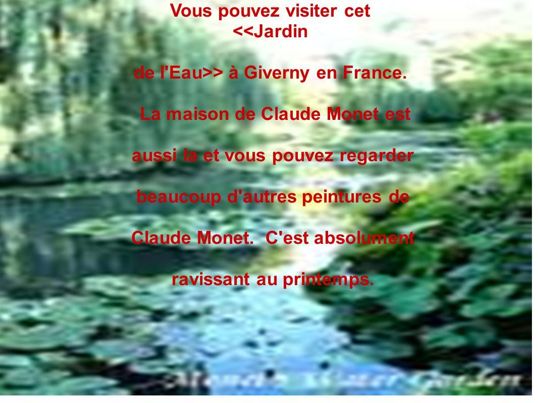 Vous pouvez visiter cet <<Jardin de l'Eau>> à Giverny en France. La maison de Claude Monet est aussi la et vous pouvez regarder beaucoup d'autres pein