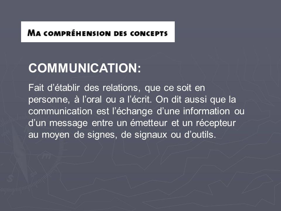 COMMUNICATION: Fait d'établir des relations, que ce soit en personne, à l'oral ou a l'écrit. On dit aussi que la communication est l'échange d'une inf