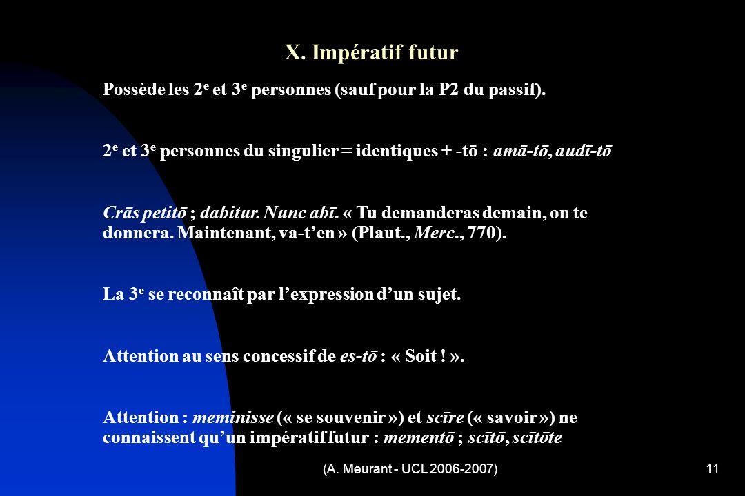 (A. Meurant - UCL 2006-2007)11 X.