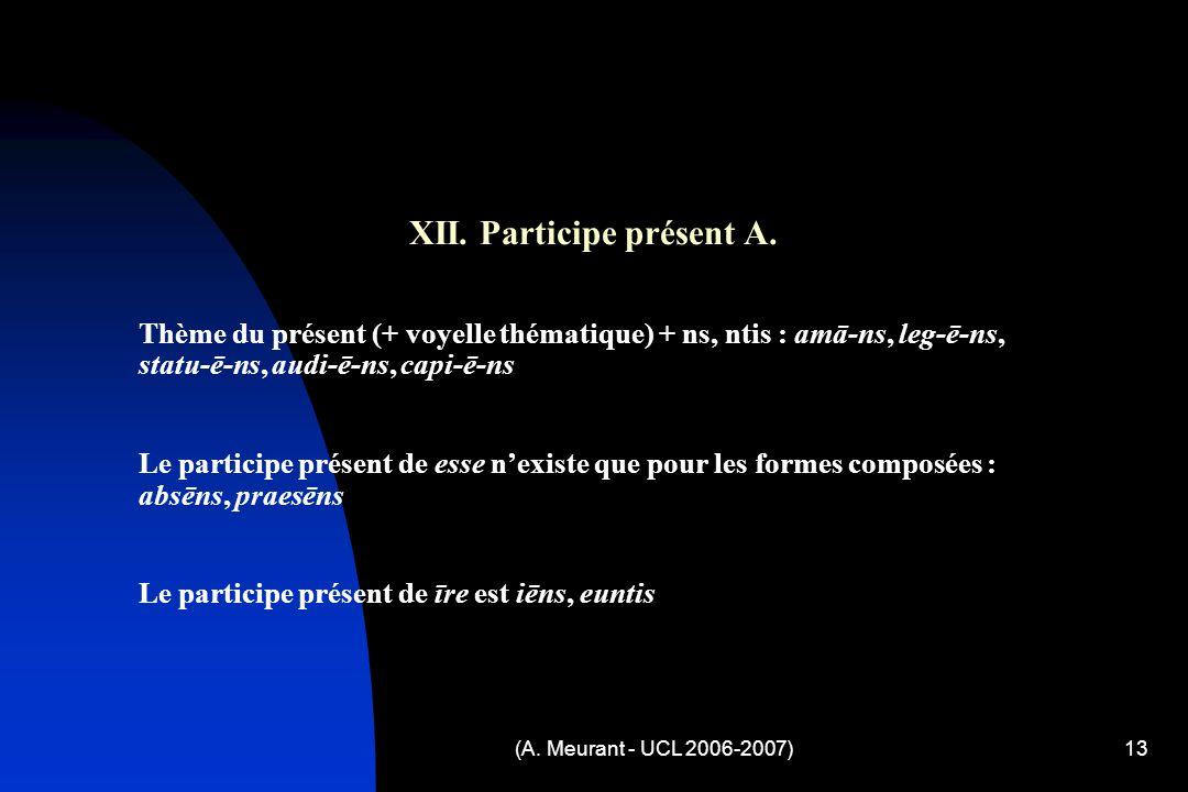 (A. Meurant - UCL 2006-2007)13 XII. Participe présent A.