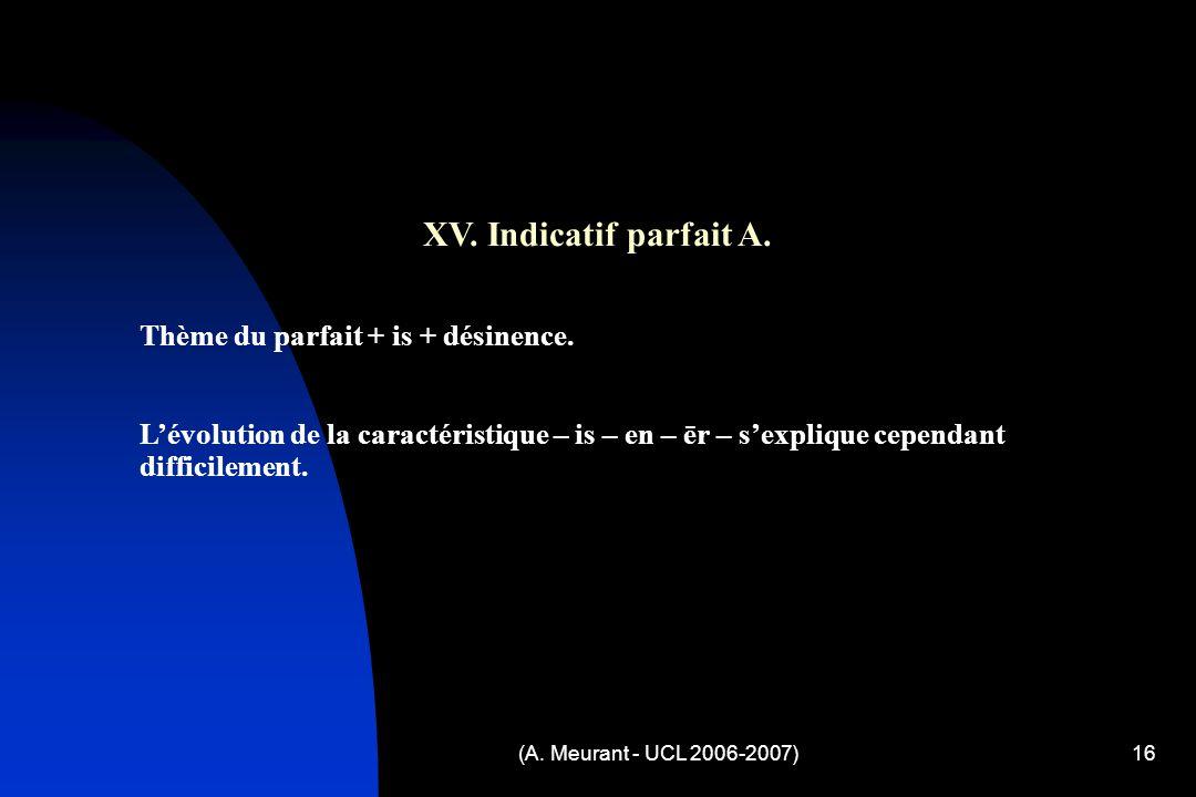 (A. Meurant - UCL 2006-2007)16 XV. Indicatif parfait A.