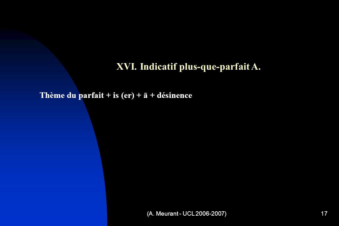(A. Meurant - UCL 2006-2007)17 XVI. Indicatif plus-que-parfait A.