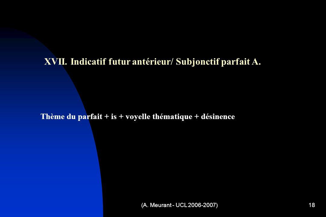 (A. Meurant - UCL 2006-2007)18 XVII. Indicatif futur antérieur/ Subjonctif parfait A.