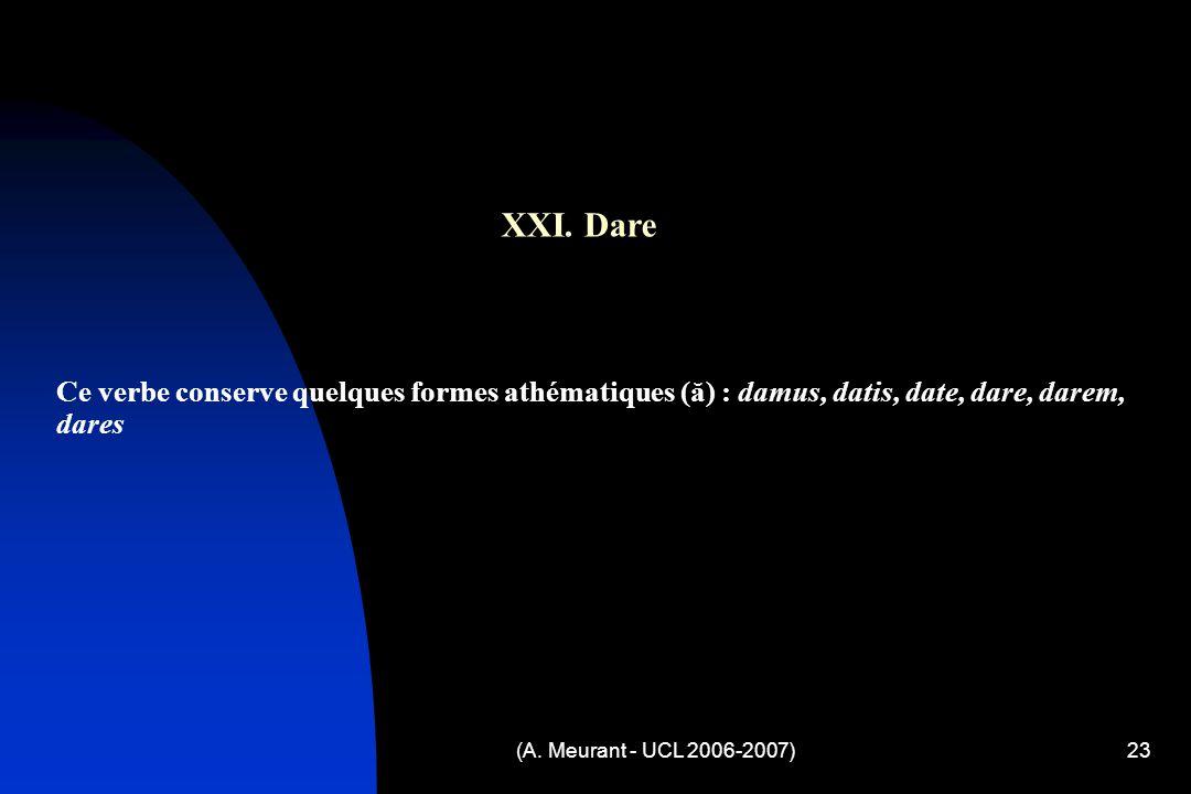 (A. Meurant - UCL 2006-2007)23 XXI.