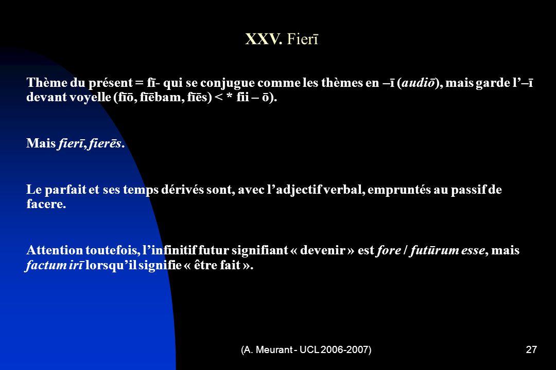 (A. Meurant - UCL 2006-2007)27 XXV.