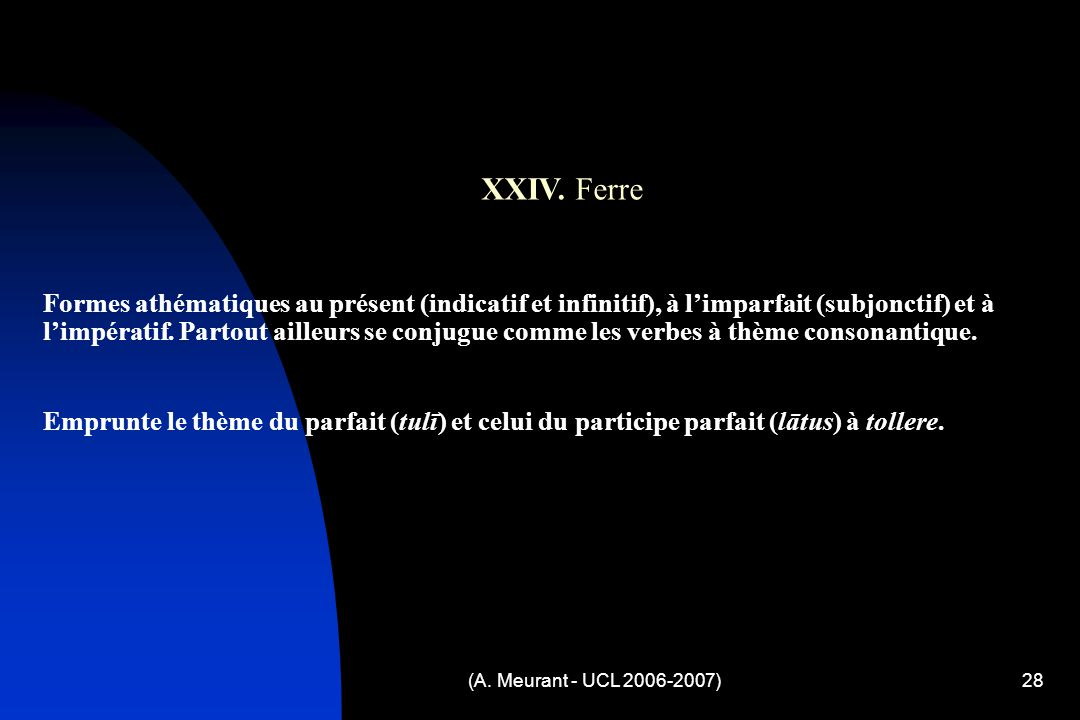 (A. Meurant - UCL 2006-2007)28 XXIV.