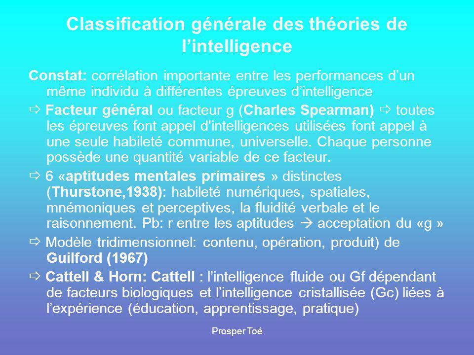 Prosper Toé Classification générale des théories de l'intelligence Constat: corrélation importante entre les performances d'un même individu à différe