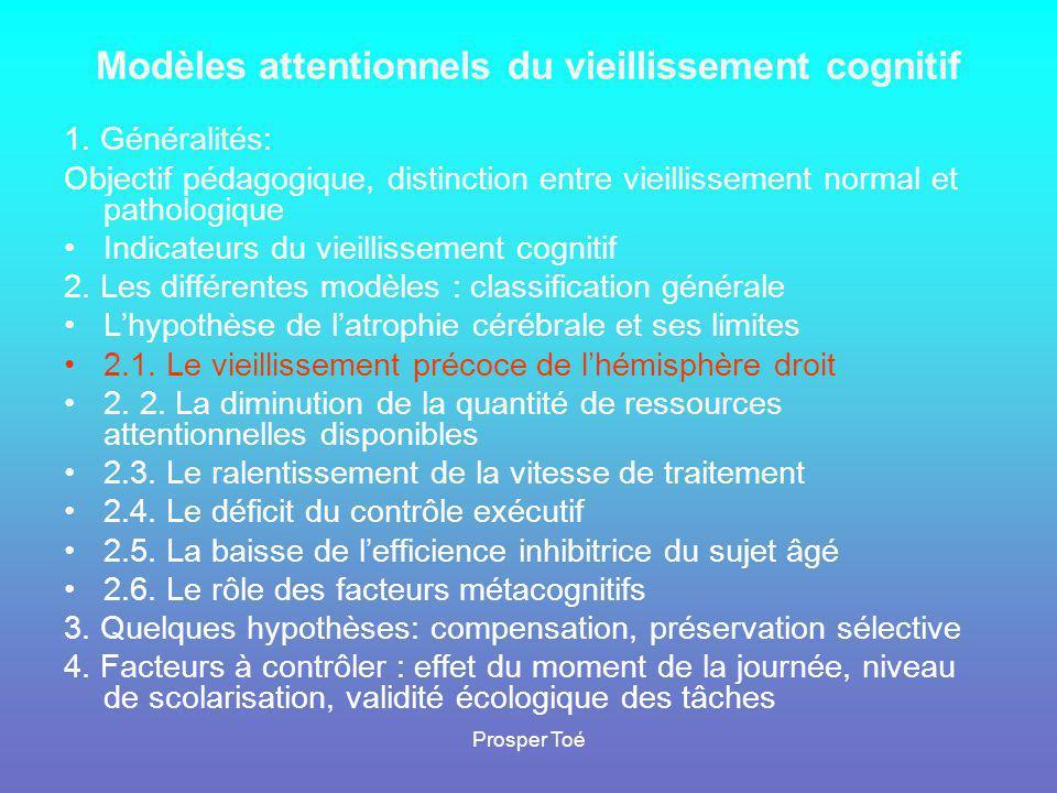 Prosper Toé Modèles attentionnels du vieillissement cognitif 1. Généralités: Objectif pédagogique, distinction entre vieillissement normal et patholog
