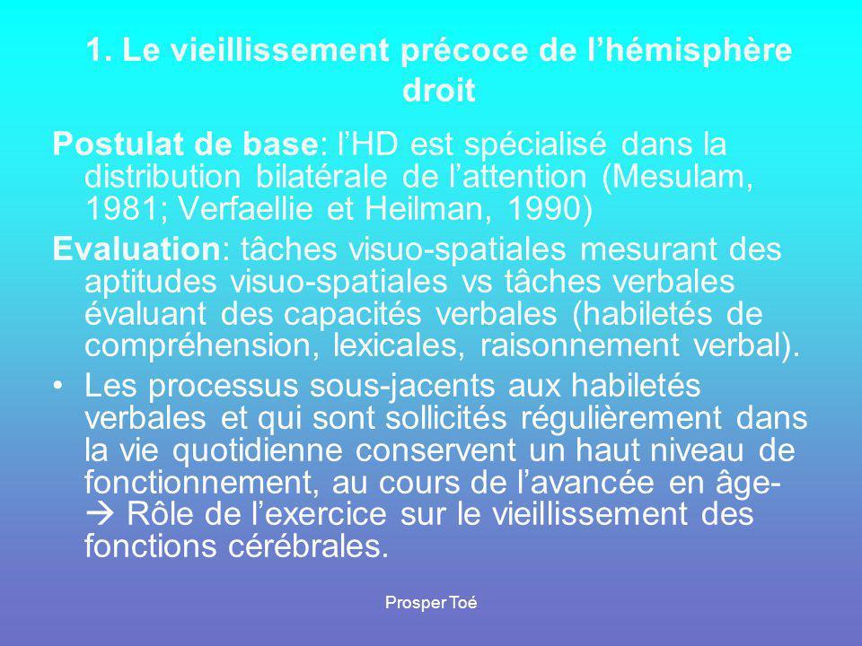 1. Le vieillissement précoce de l'hémisphère droit Postulat de base: l'HD est spécialisé dans la distribution bilatérale de l'attention (Mesulam, 1981