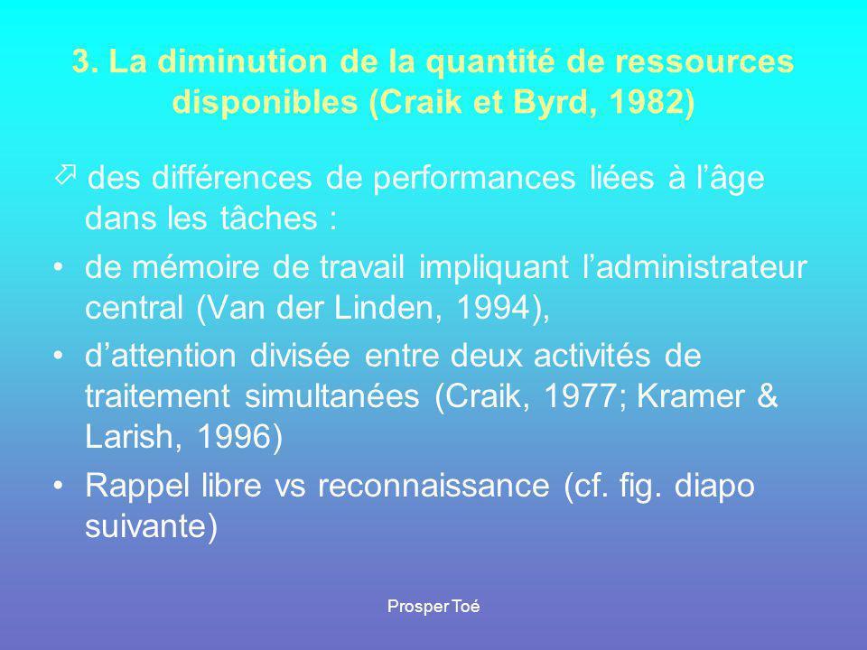Prosper Toé 3. La diminution de la quantité de ressources disponibles (Craik et Byrd, 1982)  des différences de performances liées à l'âge dans les t