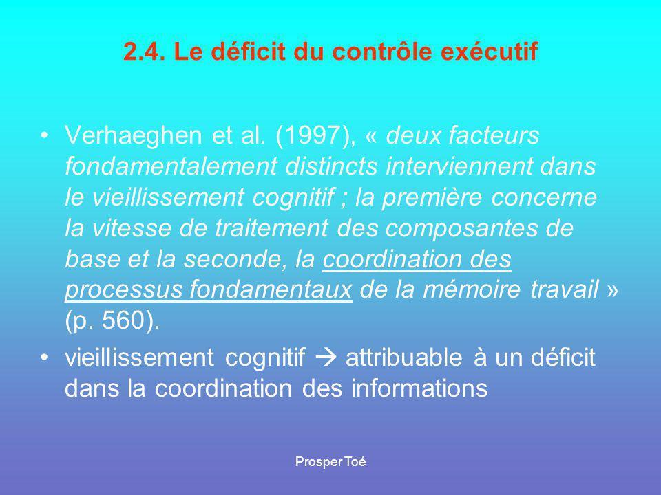 Prosper Toé 2.4. Le déficit du contrôle exécutif •Verhaeghen et al. (1997), « deux facteurs fondamentalement distincts interviennent dans le vieilliss