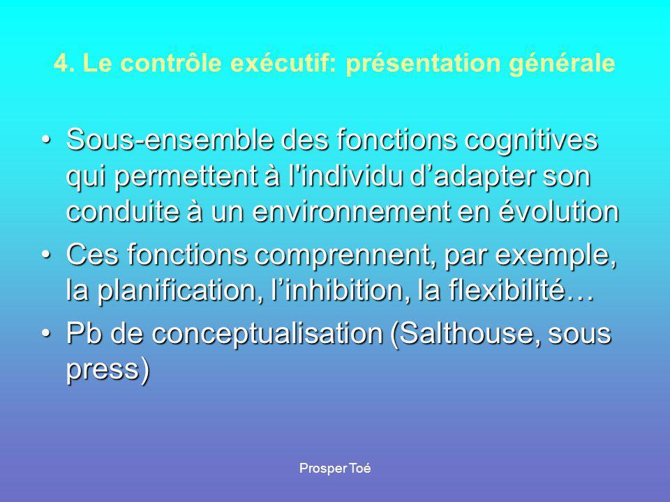Prosper Toé 4. Le contrôle exécutif: présentation générale •Sous-ensemble des fonctions cognitives qui permettent à l'individu d'adapter son conduite