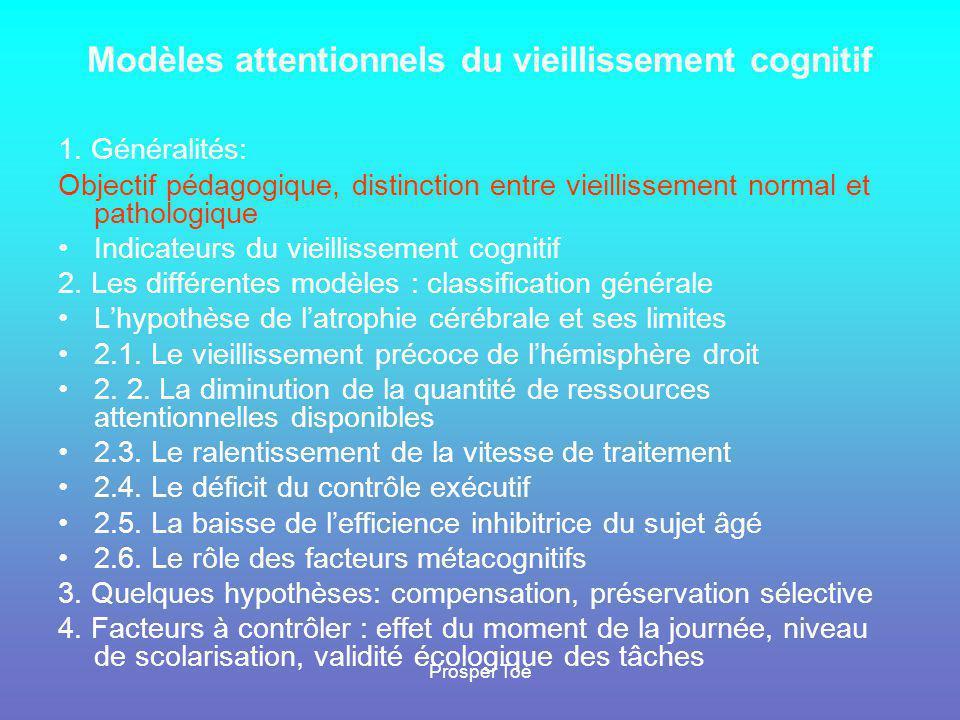 Prosper Toé Objectif •Éclairage sur les implications des modèles attentionnels du vieillissement cognitif •Opérationnalisation des concepts, évaluation de fonctions cognitives