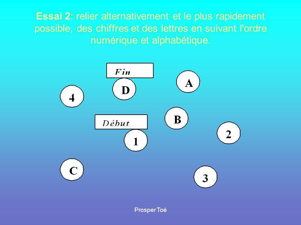 Essai 2: relier alternativement et le plus rapidement possible, des chiffres et des lettres en suivant l'ordre numérique et alphabétique.