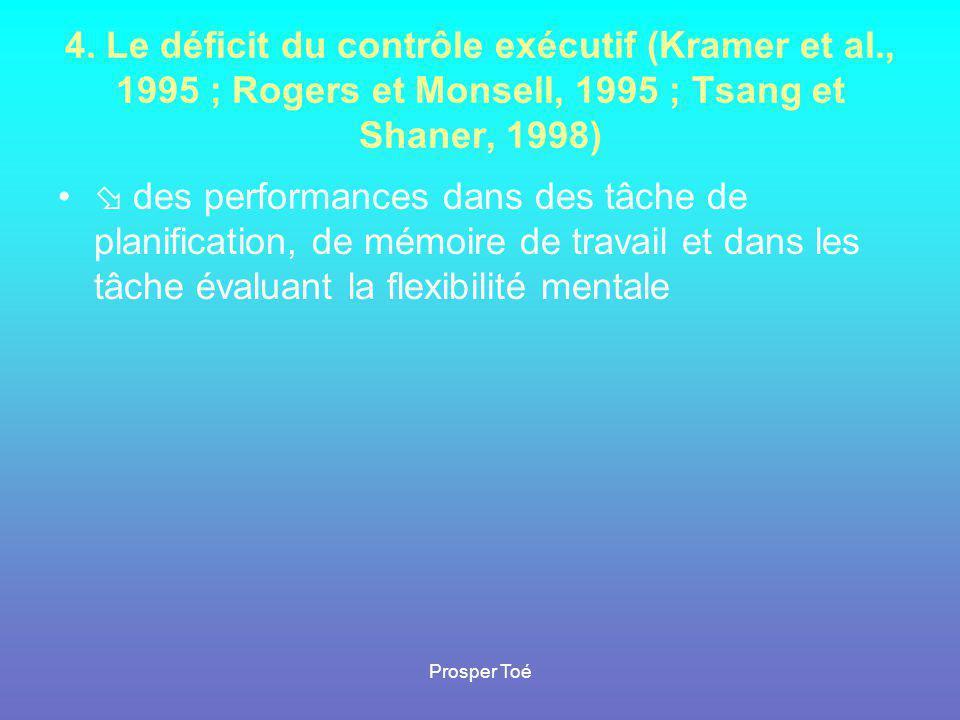 Prosper Toé 4. Le déficit du contrôle exécutif (Kramer et al., 1995 ; Rogers et Monsell, 1995 ; Tsang et Shaner, 1998) •  des performances dans des t