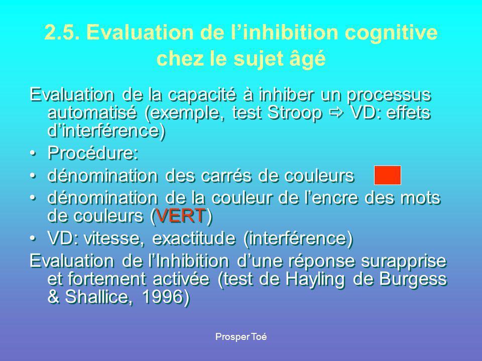 Prosper Toé 2.5. Evaluation de l'inhibition cognitive chez le sujet âgé Evaluation de la capacité à inhiber un processus automatisé (exemple, test Str