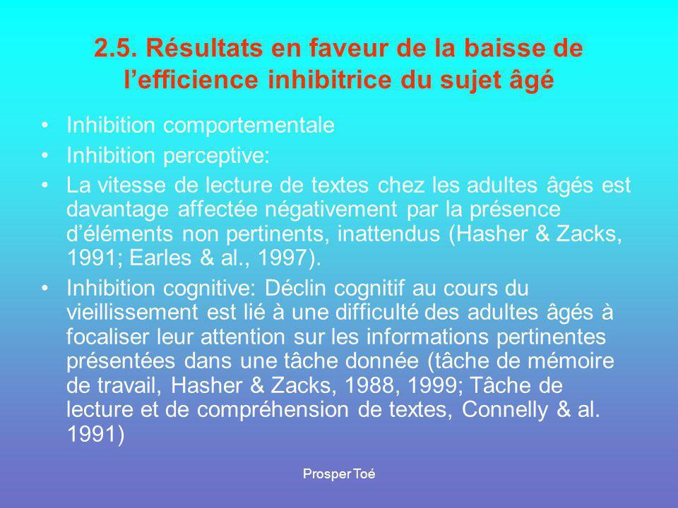Prosper Toé 2.5. Résultats en faveur de la baisse de l'efficience inhibitrice du sujet âgé •Inhibition comportementale •Inhibition perceptive: •La vit