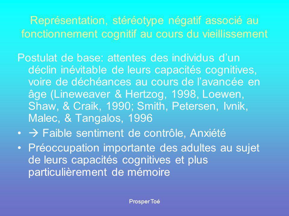 Prosper Toé Représentation, stéréotype négatif associé au fonctionnement cognitif au cours du vieillissement Postulat de base: attentes des individus