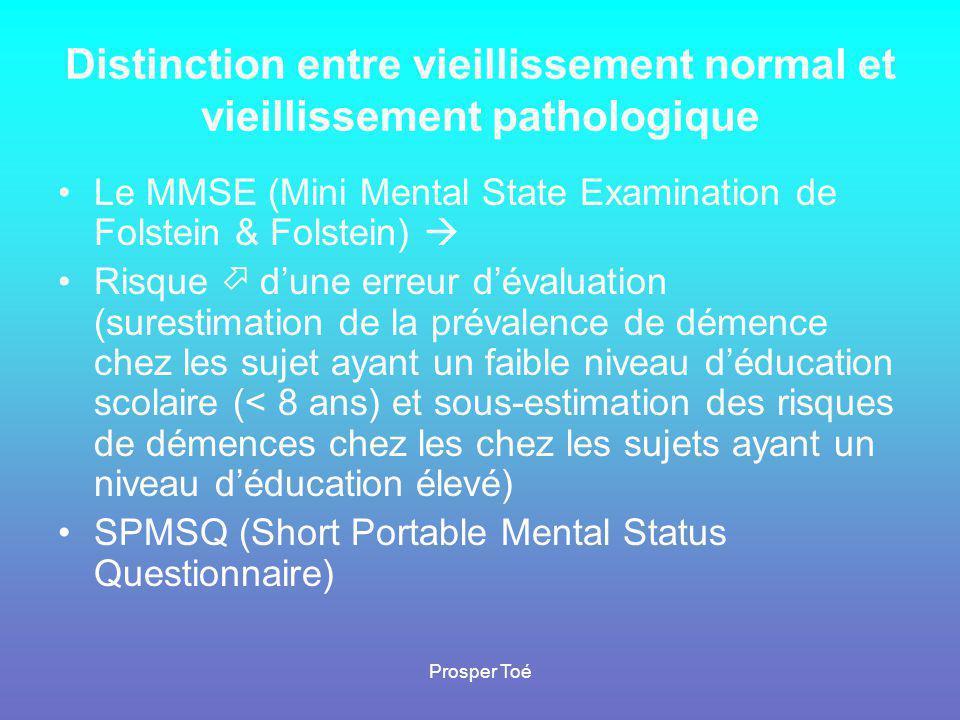 Prosper Toé Distinction entre vieillissement normal et vieillissement pathologique •Le MMSE (Mini Mental State Examination de Folstein & Folstein)  •