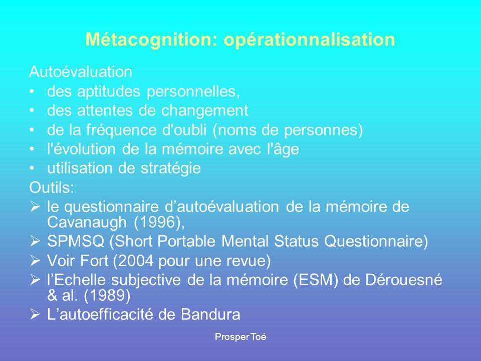 Prosper Toé Métacognition: opérationnalisation Autoévaluation •des aptitudes personnelles, •des attentes de changement •de la fréquence d'oubli (noms