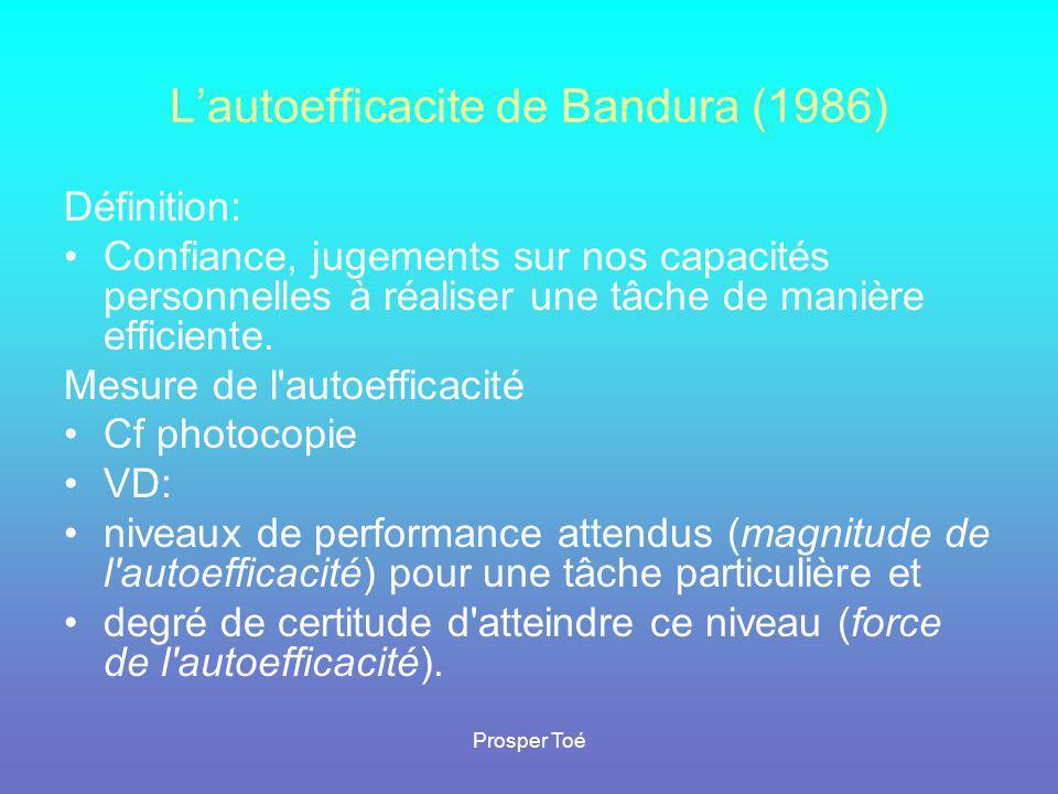 Prosper Toé L'autoefficacite de Bandura (1986) Définition: •Confiance, jugements sur nos capacités personnelles à réaliser une tâche de manière effici