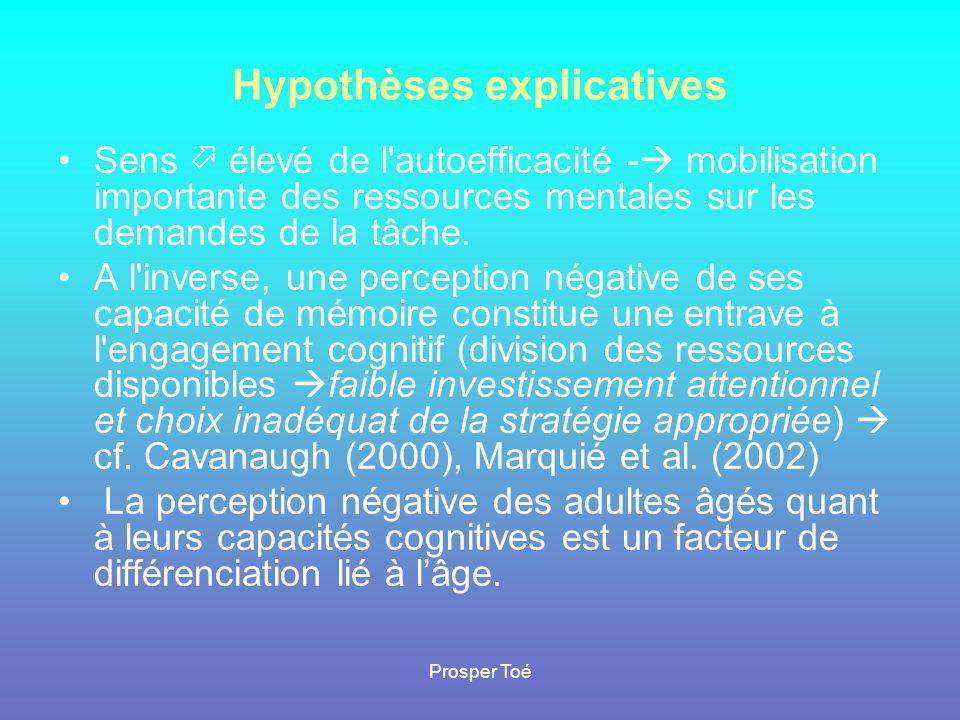 Prosper Toé Hypothèses explicatives •Sens  élevé de l'autoefficacité -  mobilisation importante des ressources mentales sur les demandes de la tâche