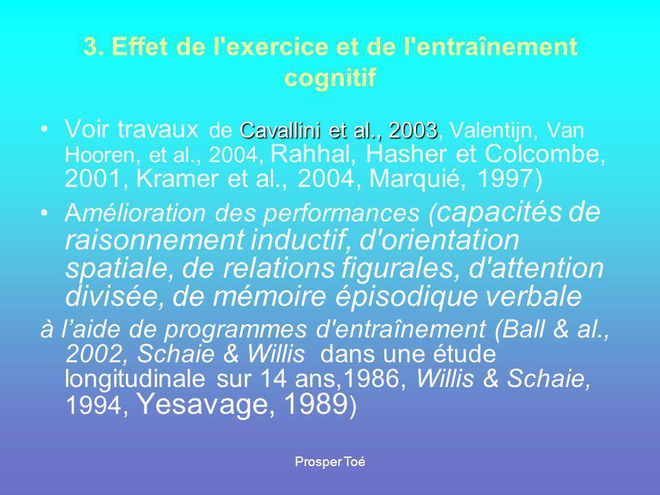 Prosper Toé 3. Effet de l'exercice et de l'entraînement cognitif •V•Voir travaux de C CC Cavallini et al., 2003, Valentijn, Van Hooren, et al., 2004,