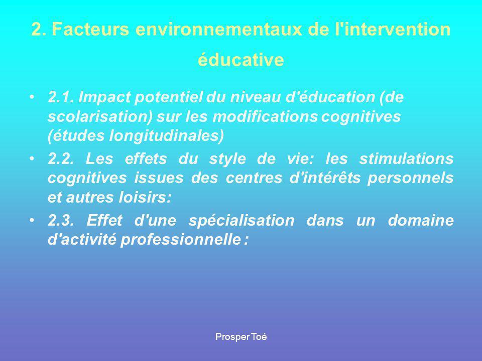 Prosper Toé 2. Facteurs environnementaux de l'intervention éducative •2•2.1. Impact potentiel du niveau d'éducation (de scolarisation) sur les modific