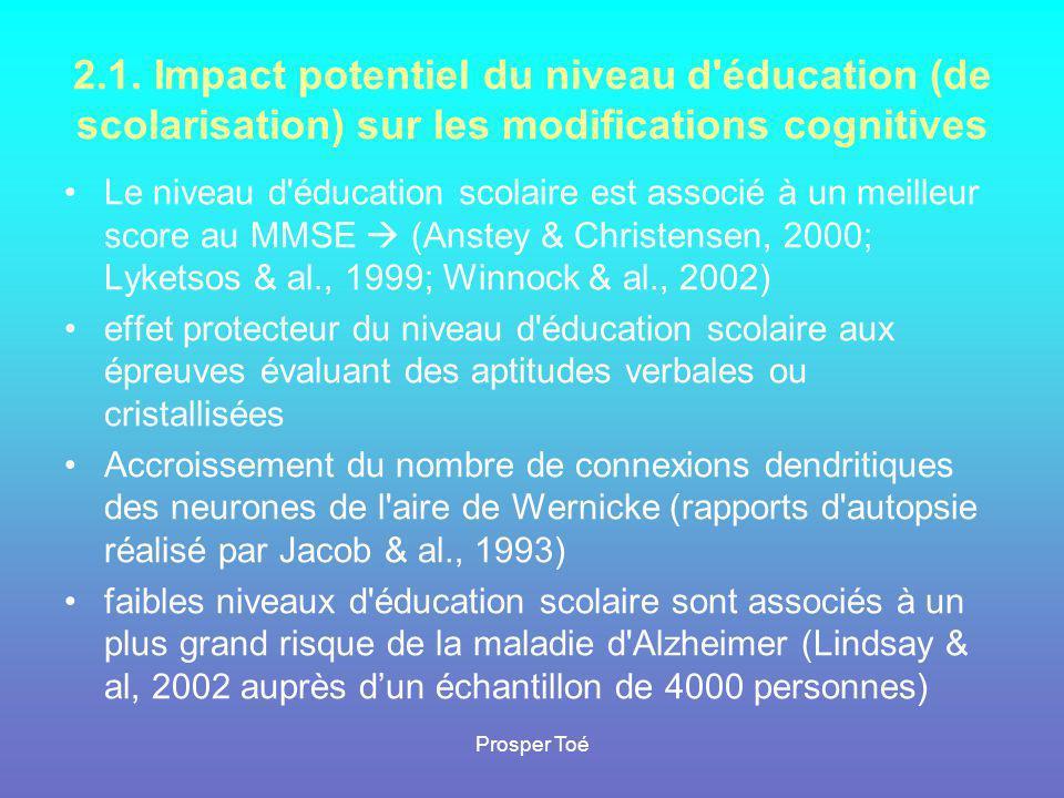 Prosper Toé 2.1. Impact potentiel du niveau d'éducation (de scolarisation) sur les modifications cognitives •Le niveau d'éducation scolaire est associ